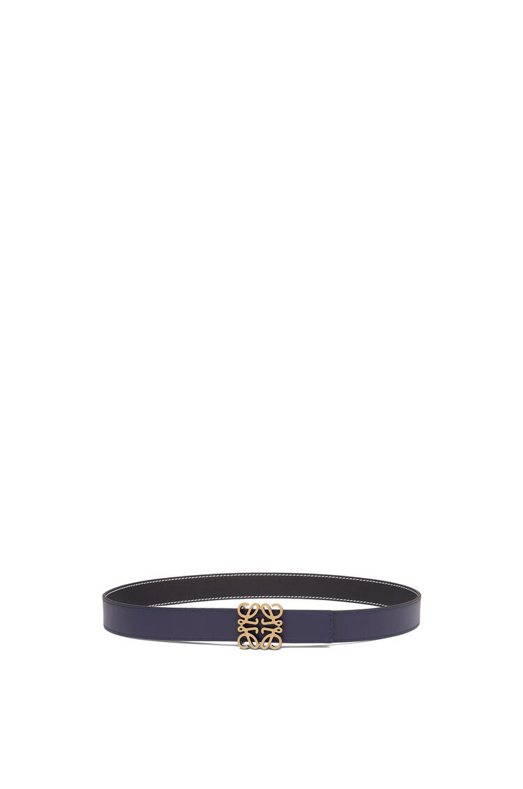 LOEWE Anagram belt in soft grained calfskin Black/Navy/Old Gold pdp_rd