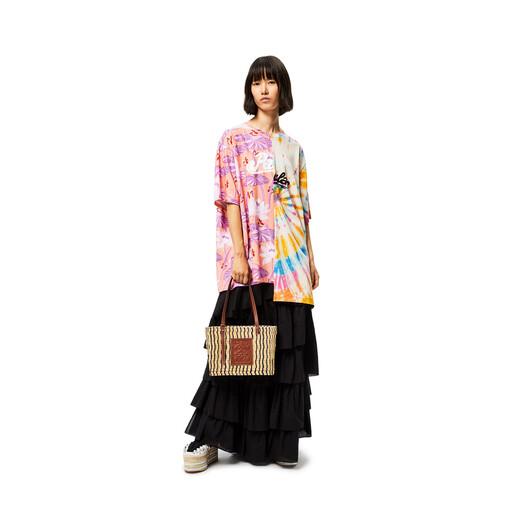 LOEWE Small Square Basket Bag In Reed And Calfskin Natural/Black/Pecan front