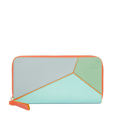 LOEWE Puzzle Zip Around Wallet Aqua Multitone front