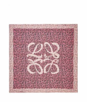 LOEWE 140X140 Scarf Roses All Over Pink front