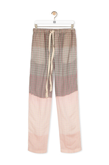 LOEWE Check Pants In Tie Die Cotton Grey/Pink front