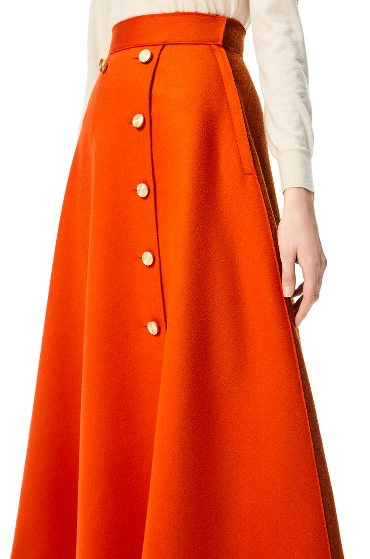LOEWE Gold button midi skirt in wool and cashmere Orange pdp_rd