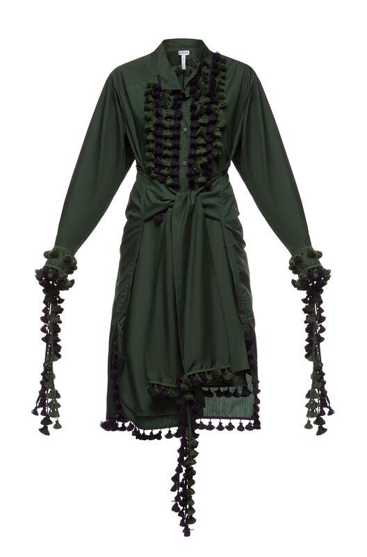 LOEWE Shirtdress Pompons Dark Green front