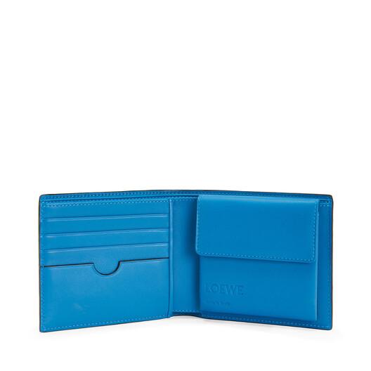 LOEWE Maze Bifold Coin Wallet Midnight Blue/Fluo Blue front