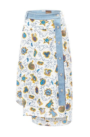 LOEWE Paula Print Skirt W/ Denim Blanco/Multicolor front