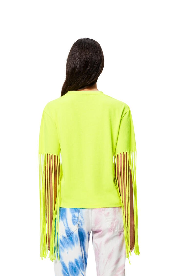 LOEWE Fringed sleeves T-shirt in cotton and polyester Neon Yellow pdp_rd
