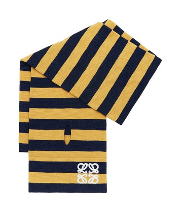 LOEWE 28X175 Padded Scarf Stripes Navy/Yellow front