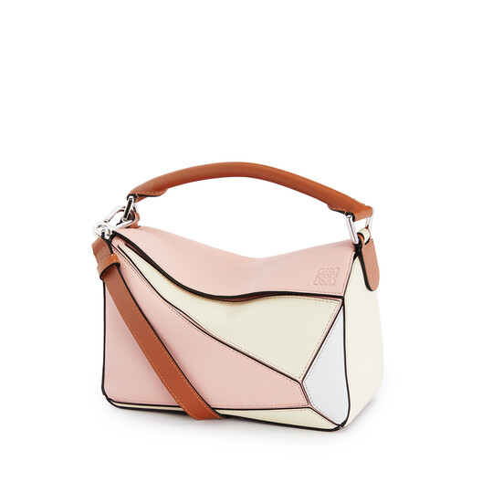 LOEWE Small Puzzle Bag In Classic Calfskin Peach Pink/Milk front