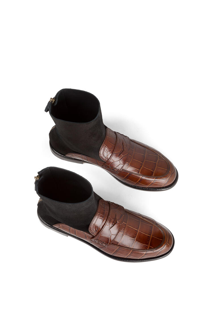 LOEWE Mocasín con bota tipo calcetín en piel de ternera Marron/Negro pdp_rd