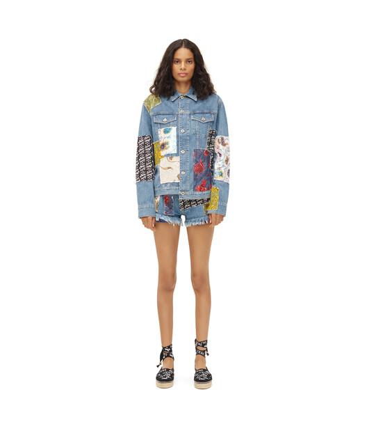 LOEWE Paula Patchwork Mini Shorts Indigo/Multicolour front