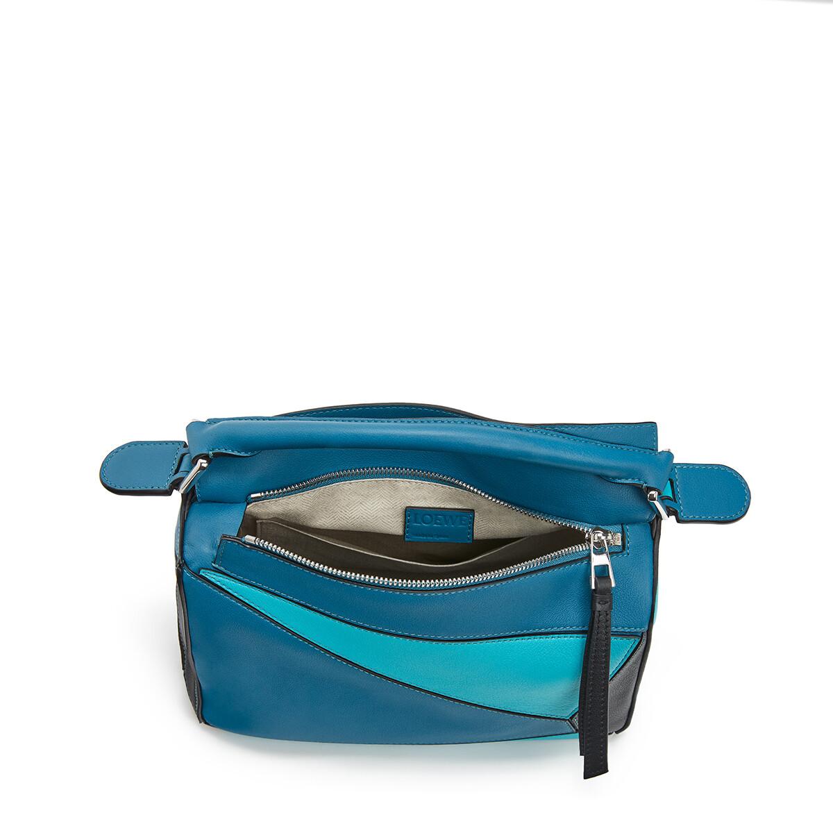 LOEWE Puzzle Small Bag Dark Lagoon/Black front