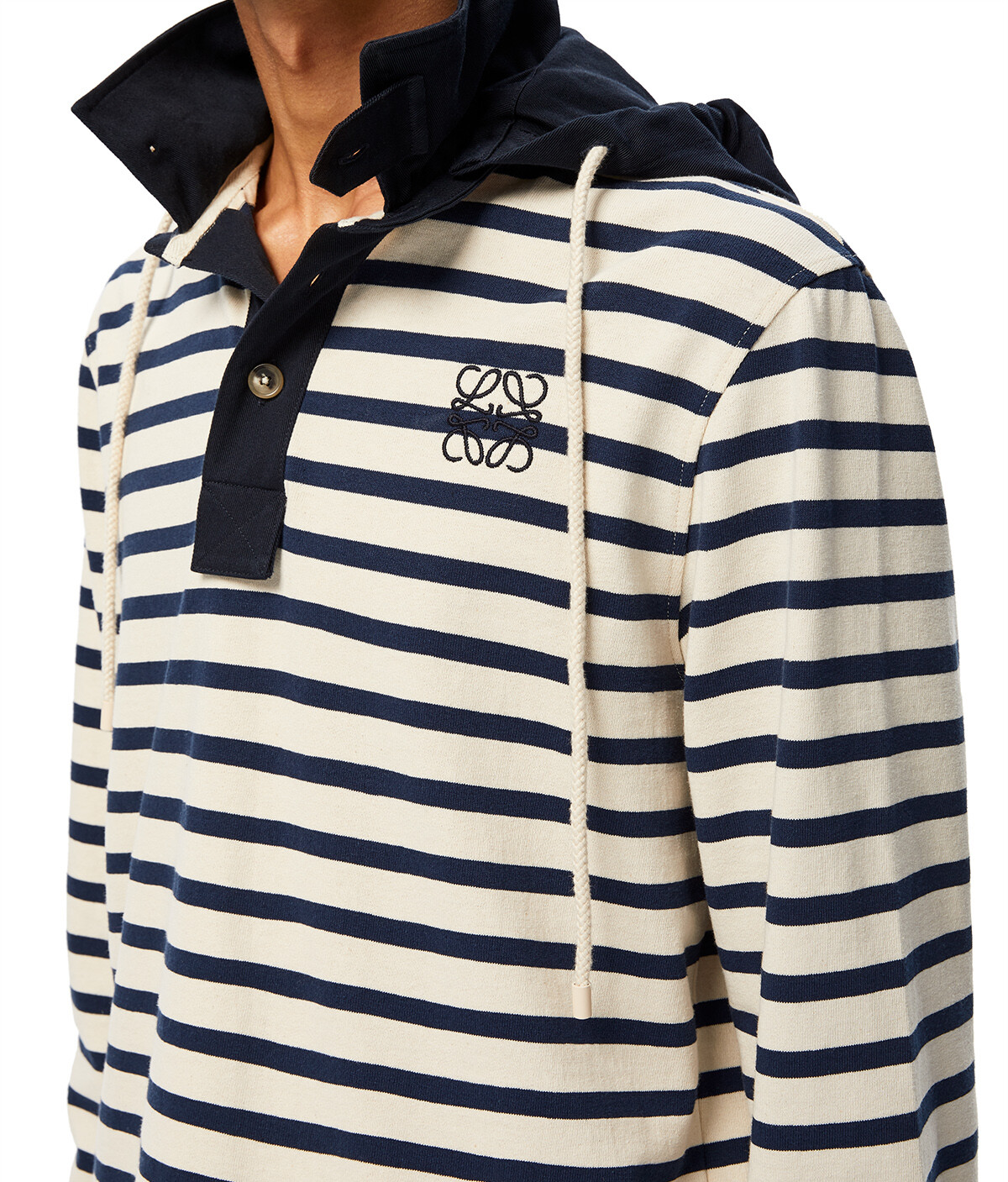 LOEWE Stripe Hooded Polo 白色/蓝色 front