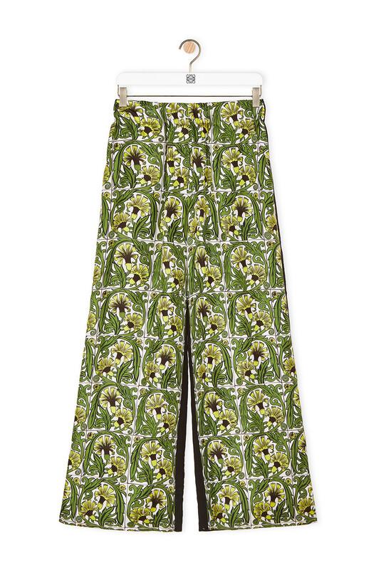 LOEWE Silk Print Trousers Flowers Black/Yellow/Green front