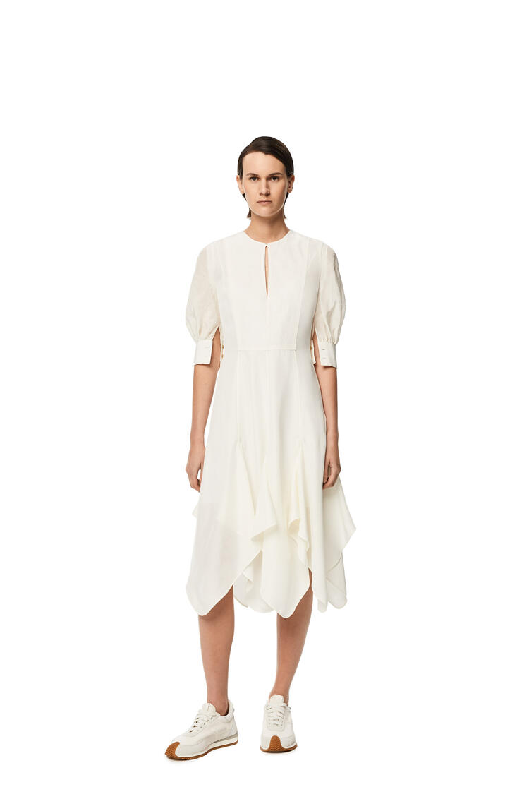 LOEWE Petal hem dress in linen White pdp_rd