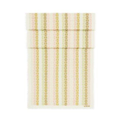 LOEWE 70X200 Scarf Anagram In Lines White/Pink front