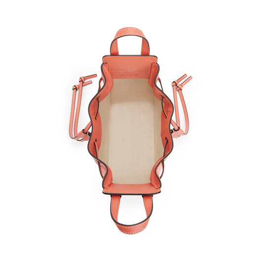 LOEWE Mini Hammock Drawstring Bag In Classic Calfskin And Waterlily Canvas Grapefruit/Salmon front