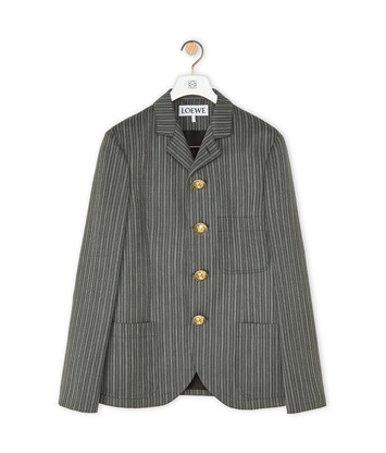 LOEWE 4 Button Stripe Jacket Grey front