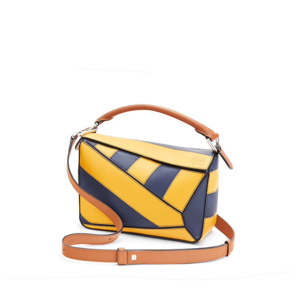 LOEWE Puzzle Rugby Small Bag Yellow Mango/Marine front