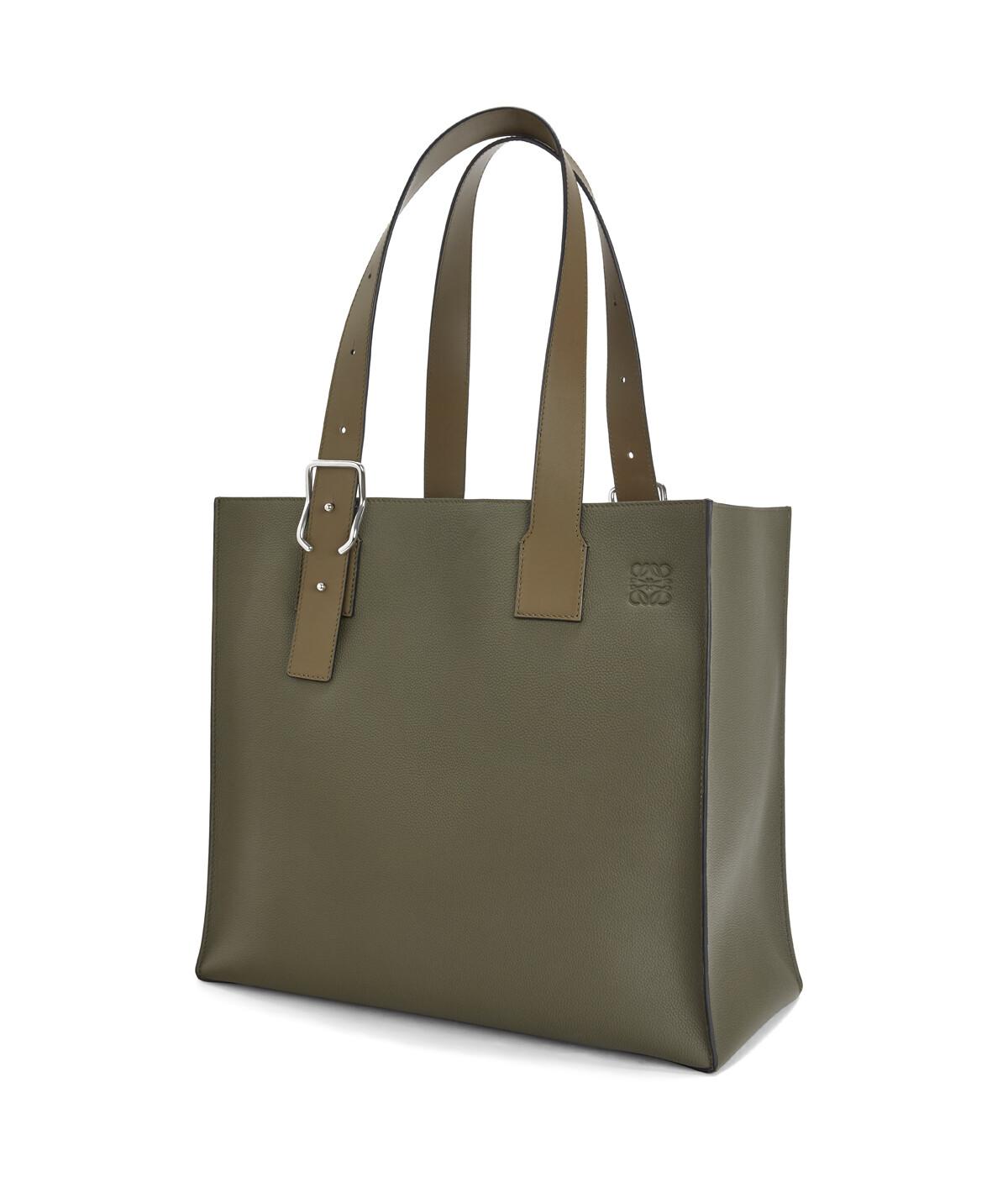 LOEWE Buckle Tote Bag Khaki Green front