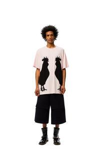 LOEWE Camiseta oversize en algodón con motivo de gallo Rosa Bebe pdp_rd