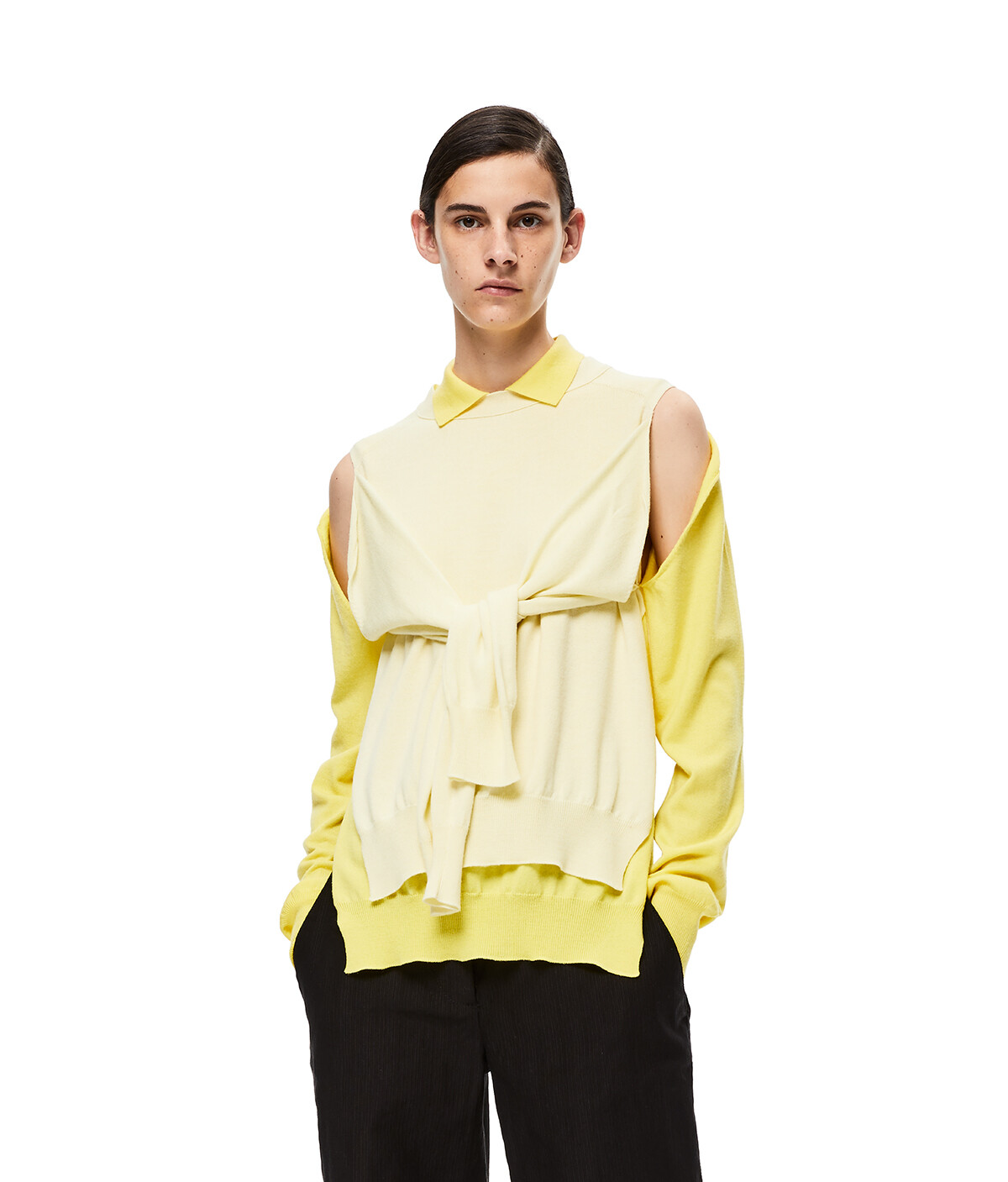 LOEWE Poloneck Trompe Loeil Sweater Yellow/Light Yellow front