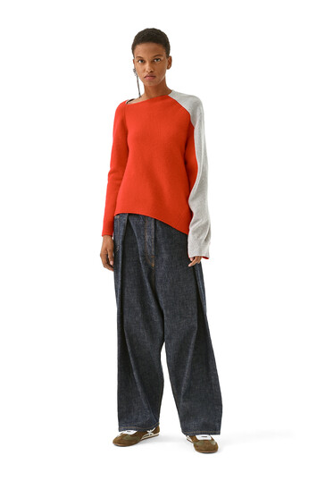 LOEWE Asymmetric Knit Sweater Red/Grey front