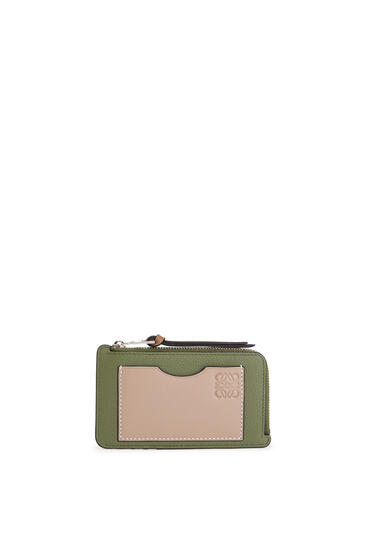 LOEWE Coin cardholder in soft grained calfskin Avocado Green/Sand pdp_rd