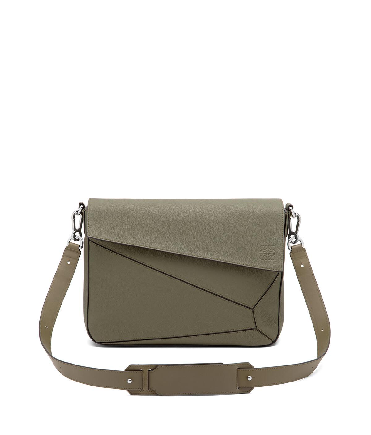 LOEWE Puzzle Messenger Bag Khaki Green front