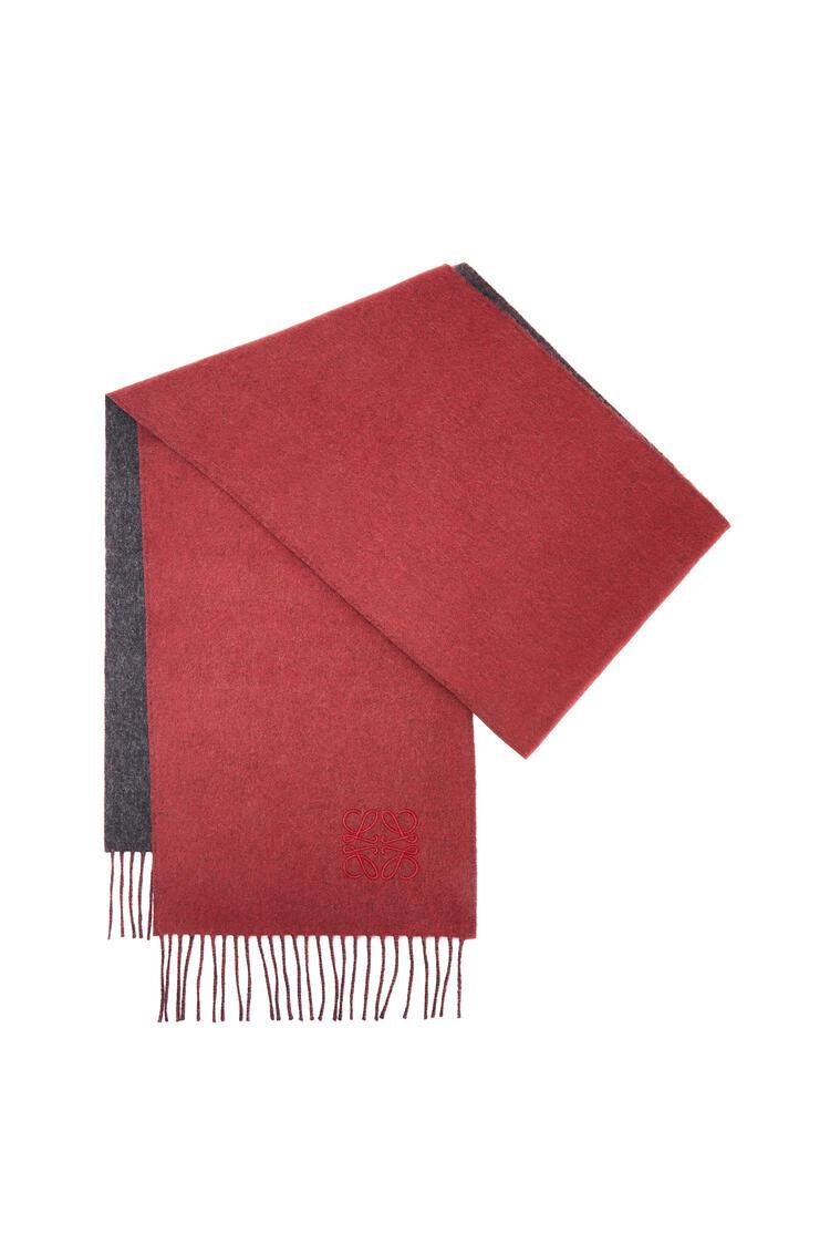LOEWE 30 x 180 cm LOEWE anagram scarf in wool and cashmere Grey/Red pdp_rd