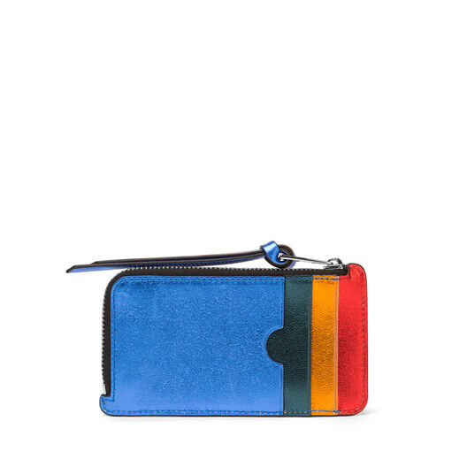 LOEWE Rainbow Coin/Card Holder Metallic Multicolor front