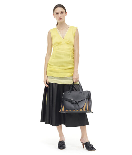 LOEWE Gate Top Handle Grid Bag Black/Light Caramel all