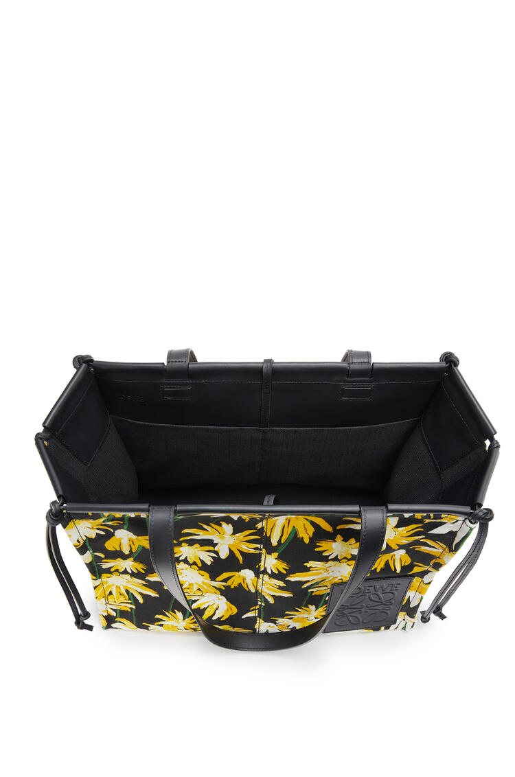 LOEWE Cushion Tote bag in canvas and calfskin Black/Yellow pdp_rd