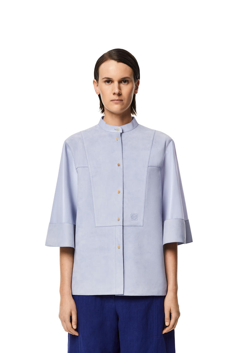 LOEWE Bib shirt in suede and nappa Light Blue/Blue pdp_rd