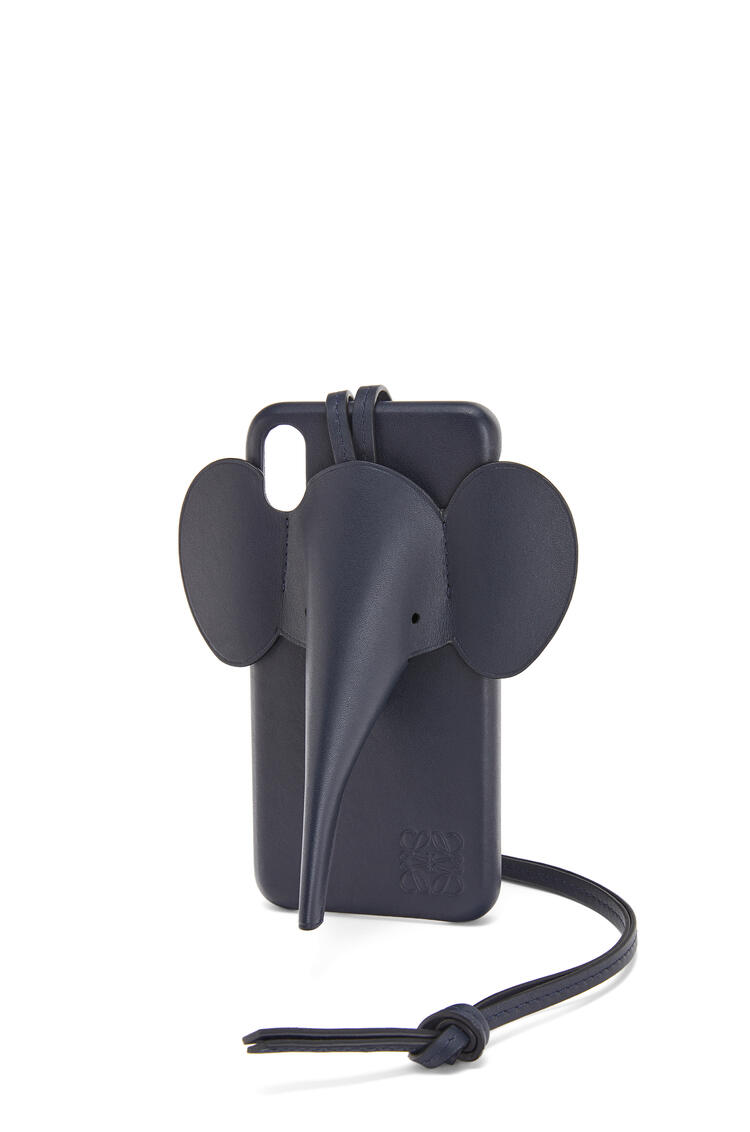 LOEWE Elephant cover for iPhone XS Max in classic calfskin Deep Blue pdp_rd