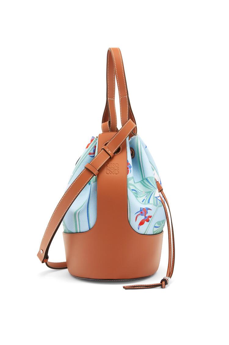 LOEWE Balloon Bag In Waterlily Canvas And Calfskin Aqua/Tan pdp_rd