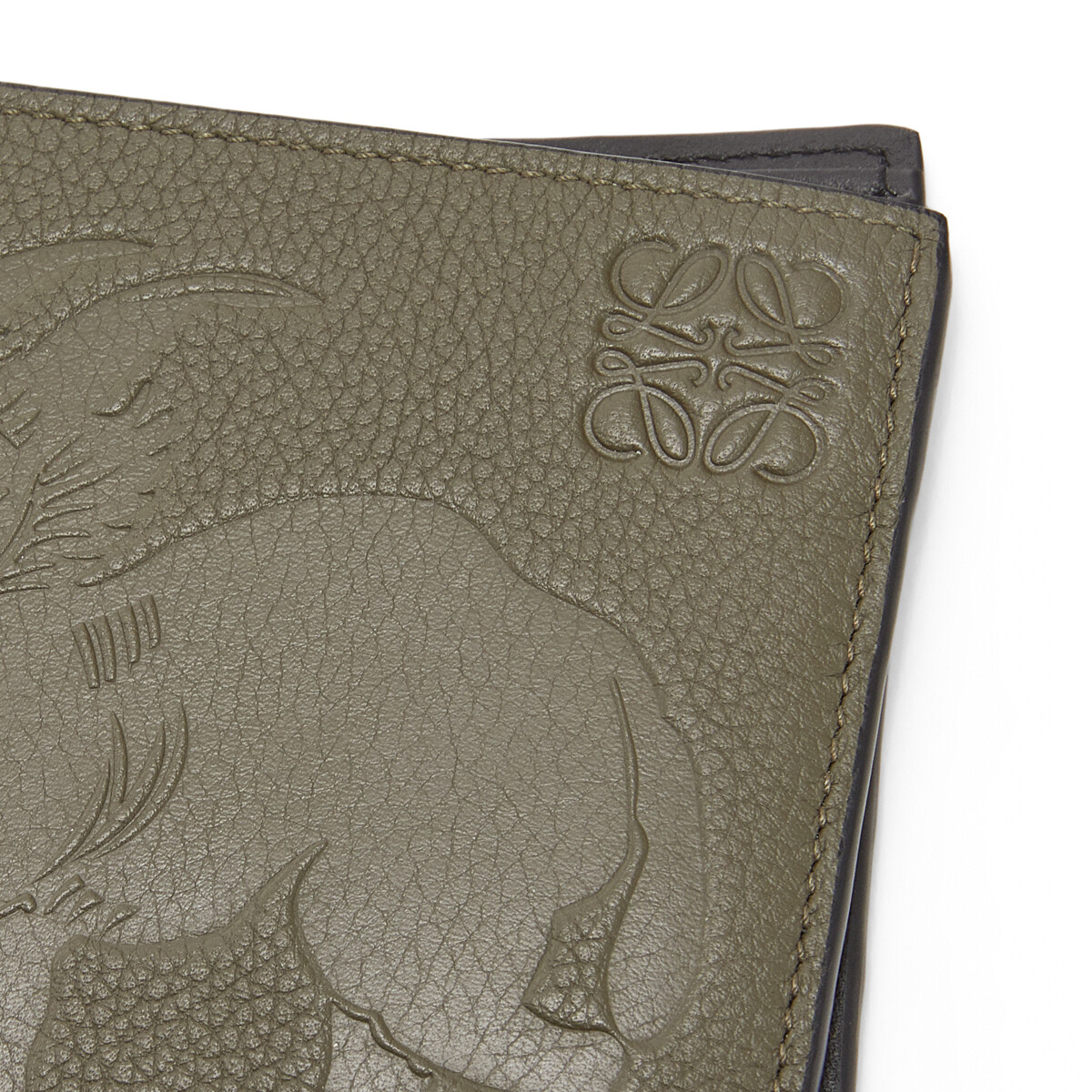 LOEWE Bifold Wallet Animals カーキグリーン front