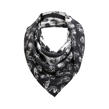 LOEWE 90X90 Scarf Anagram Feathers White/Black front