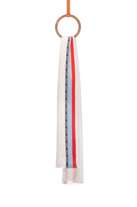 LOEWE 70X200 スカーフ ロエベ ボーダー ホワイト all