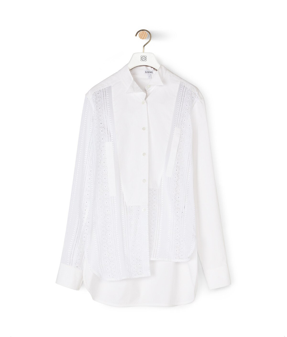 LOEWE Lace Asymmetric Oversize Shirt White front