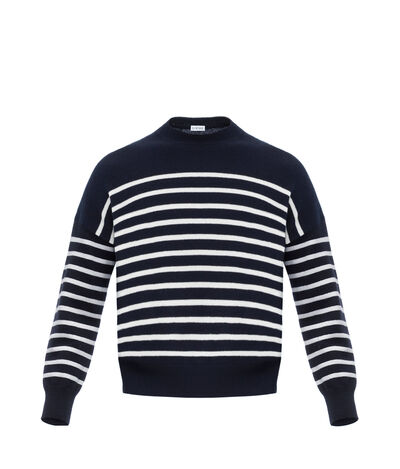 LOEWE Cropped Sweater Stripes 蓝色/白色 front