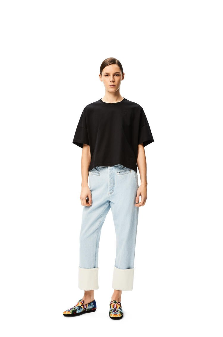 LOEWE Anagram embroidered cropped t-shirt in cotton Black pdp_rd