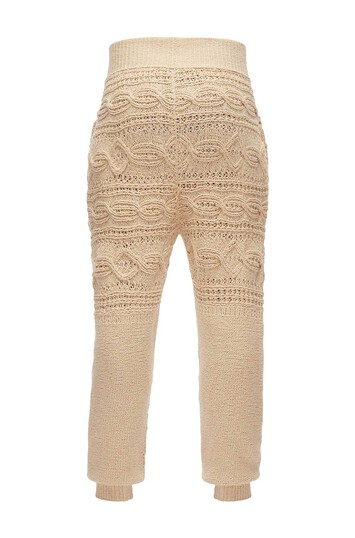 LOEWE Cable Knit Trousers Beige front