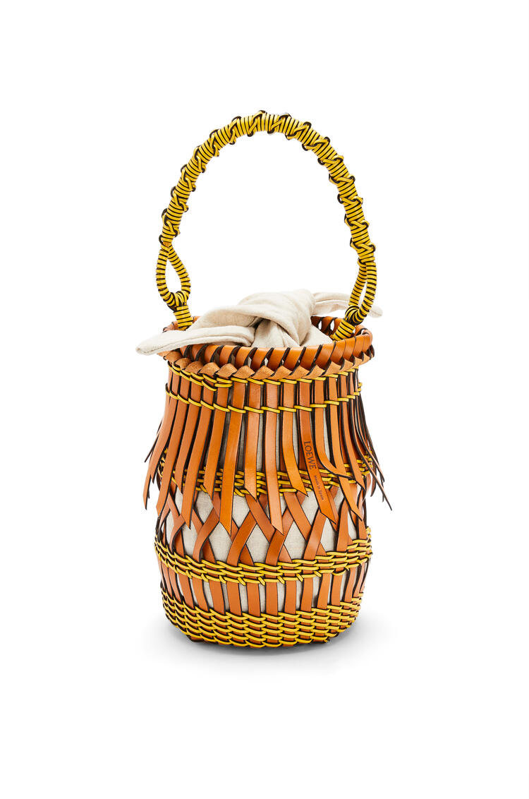LOEWE Fringes Bucket bag in calfskin Tan/Yellow pdp_rd