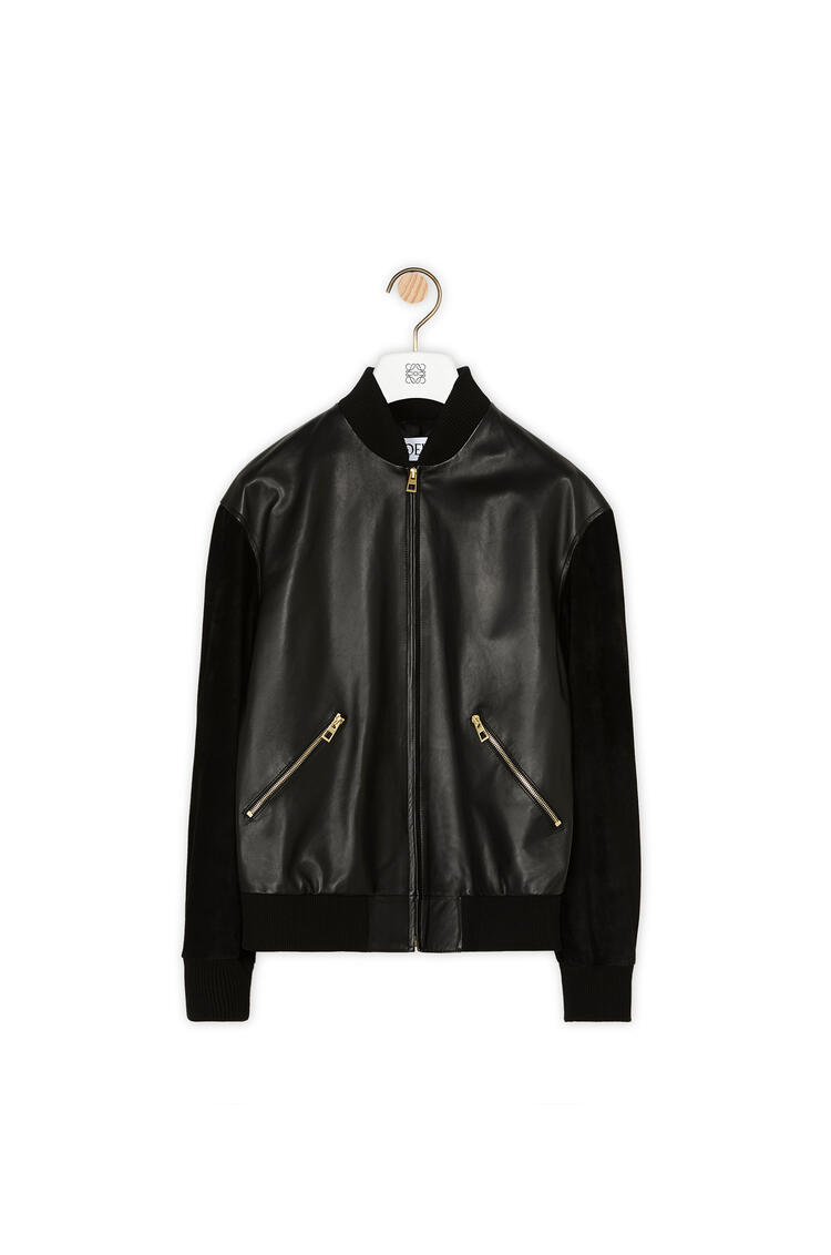LOEWE Zip Blouson Back Patch In Nappa Black/Tan pdp_rd