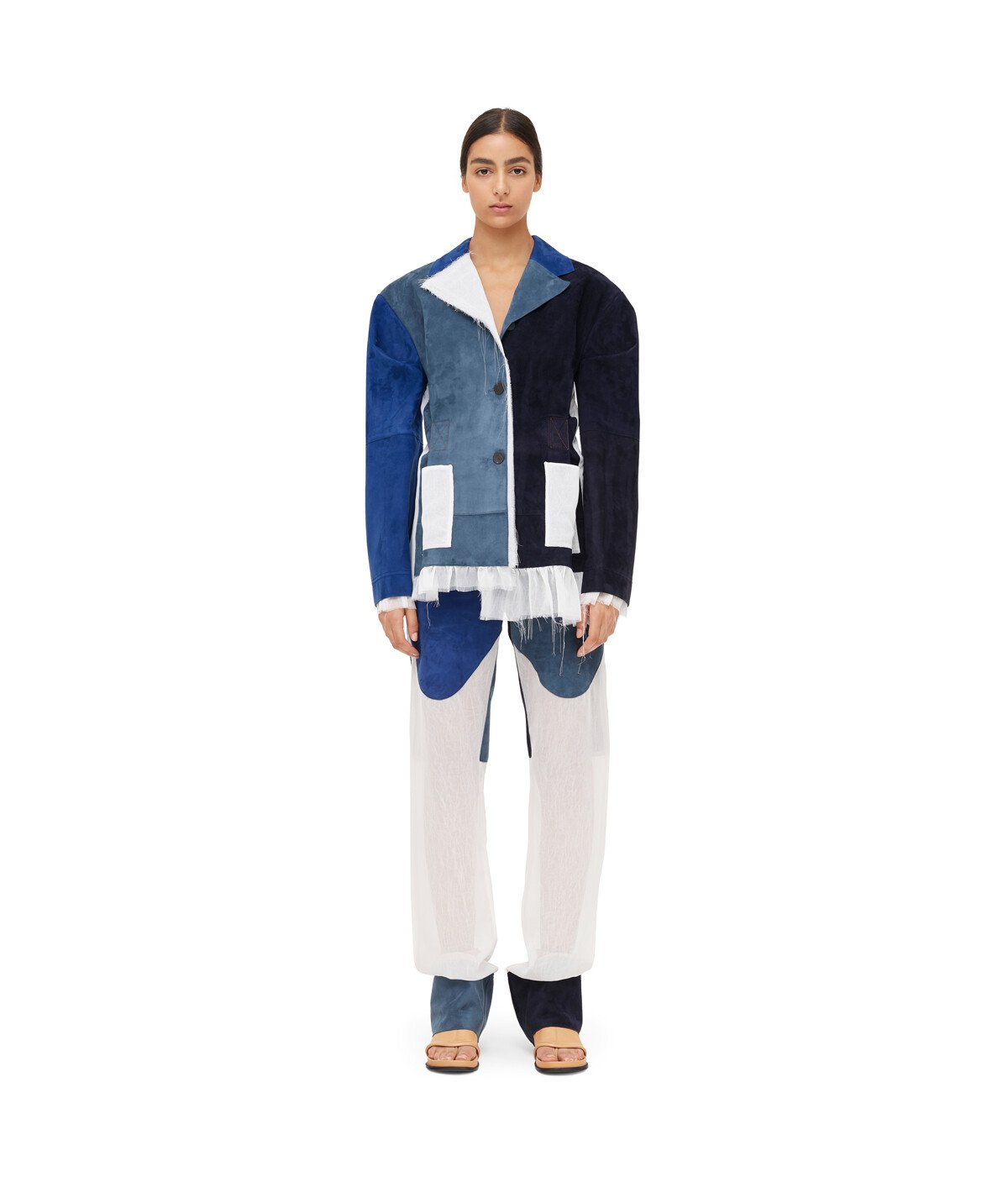 LOEWE Jacket Suede Panels & Textile Blue/White front