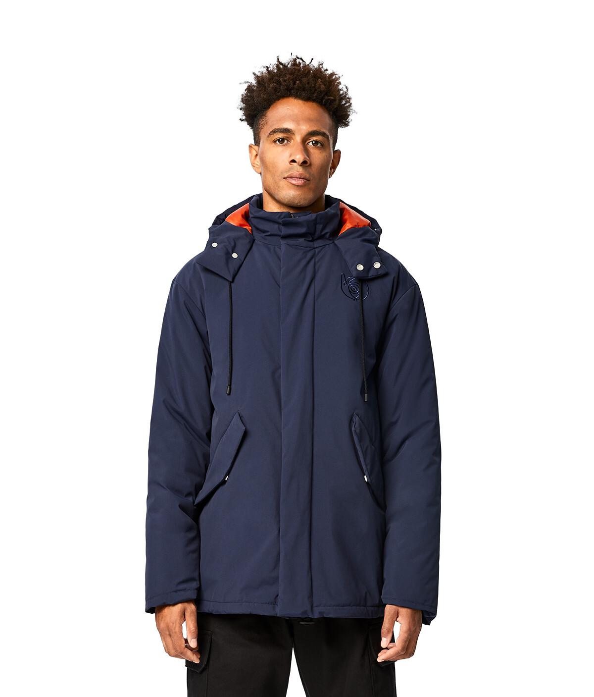 LOEWE Turtle Neck Jacket With Hoodie Navy Blue/Orange front