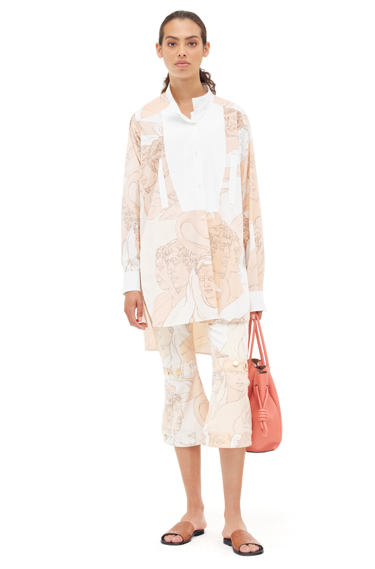 LOEWE Long Asymmetric Shirt Faces Beige/Off-White front