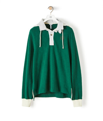 LOEWE Hooded Polo Forest Green front