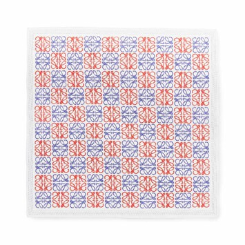 LOEWE 50X50 Bandana Anagram Light Blue/Red front