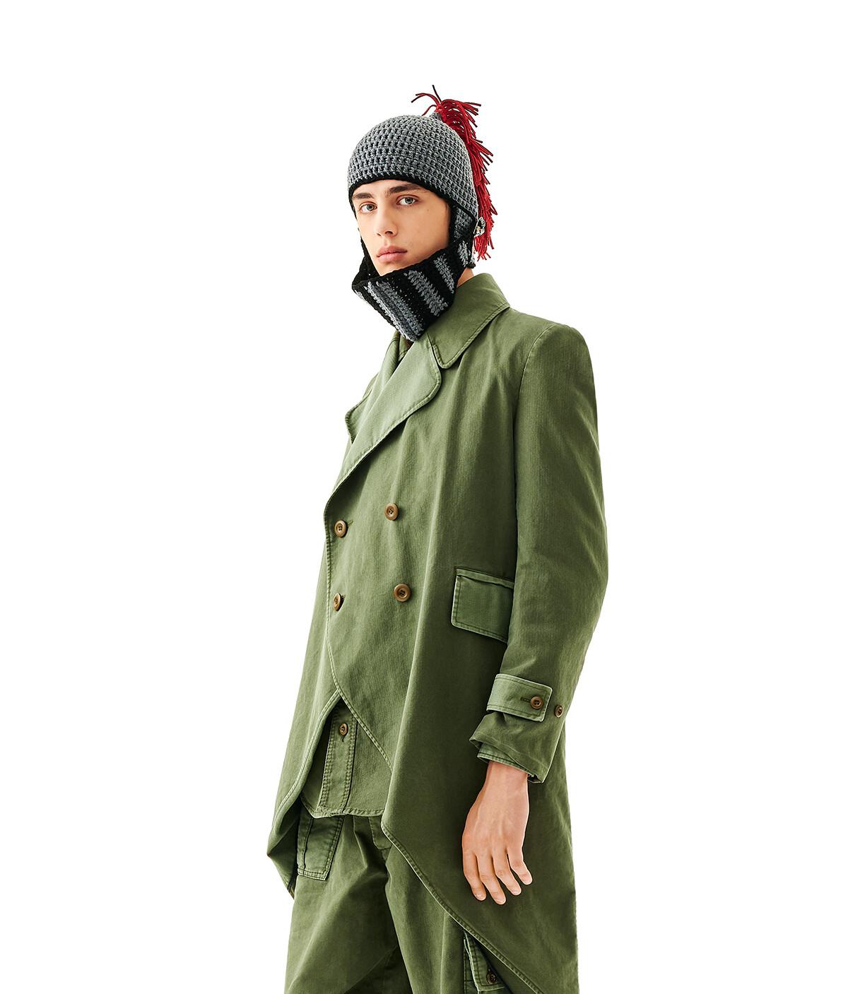 LOEWE Knight Knit Hat Gris/Rojo front